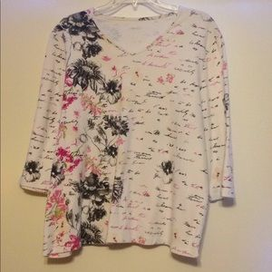 Foral and Writing print shirt---Size:1X